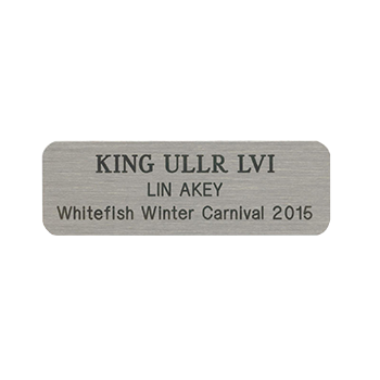 King Ullr LVI Lin Akey Whitefish Winter Carnival 2015 Silver Nickel Name Tag