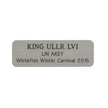 King Ullr LVI Lin Akey Whitefish Winter Carnival 2015 Silver Nickel Name Tag